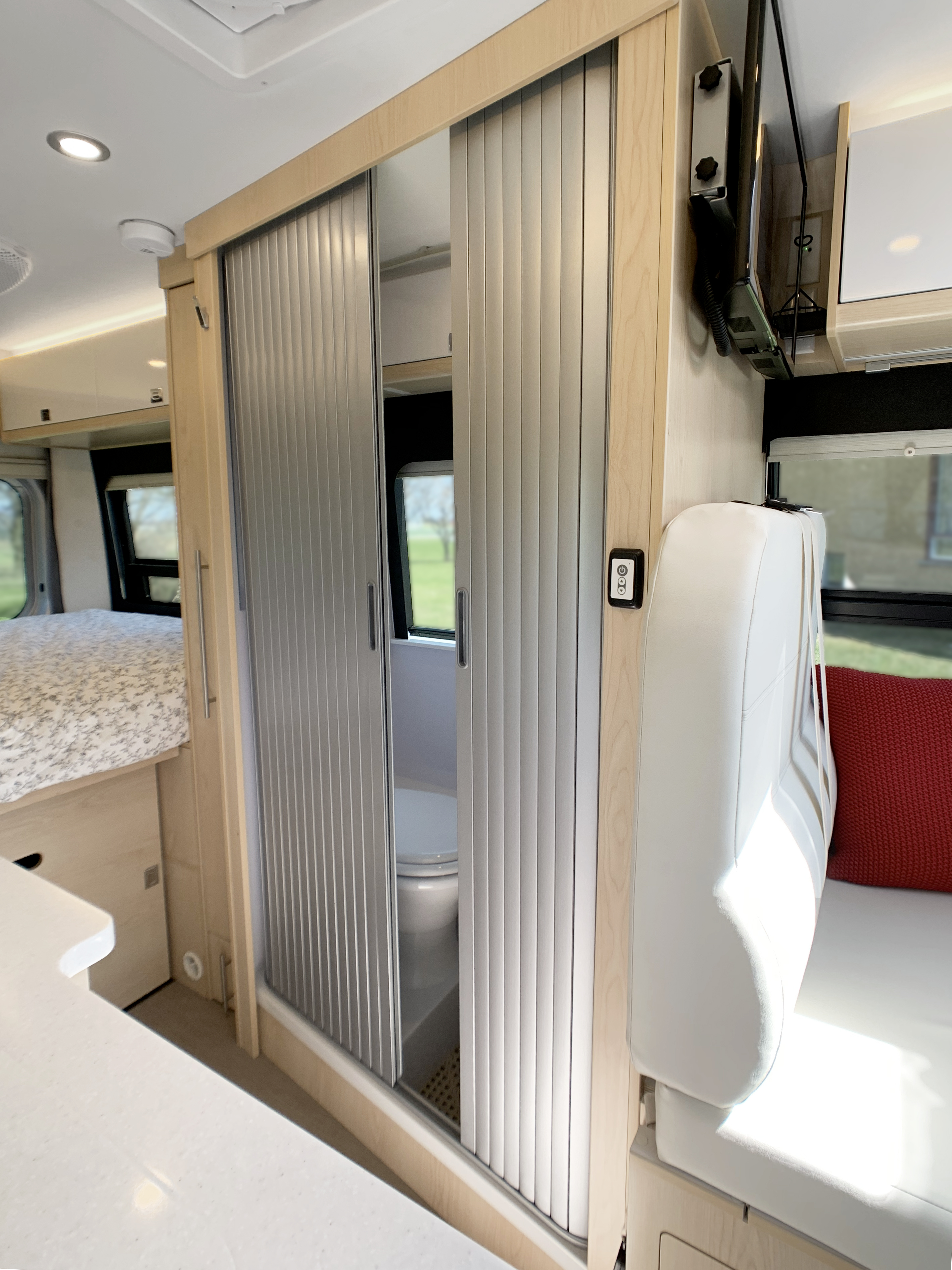 Panoramic RV - Rolling bathroom door